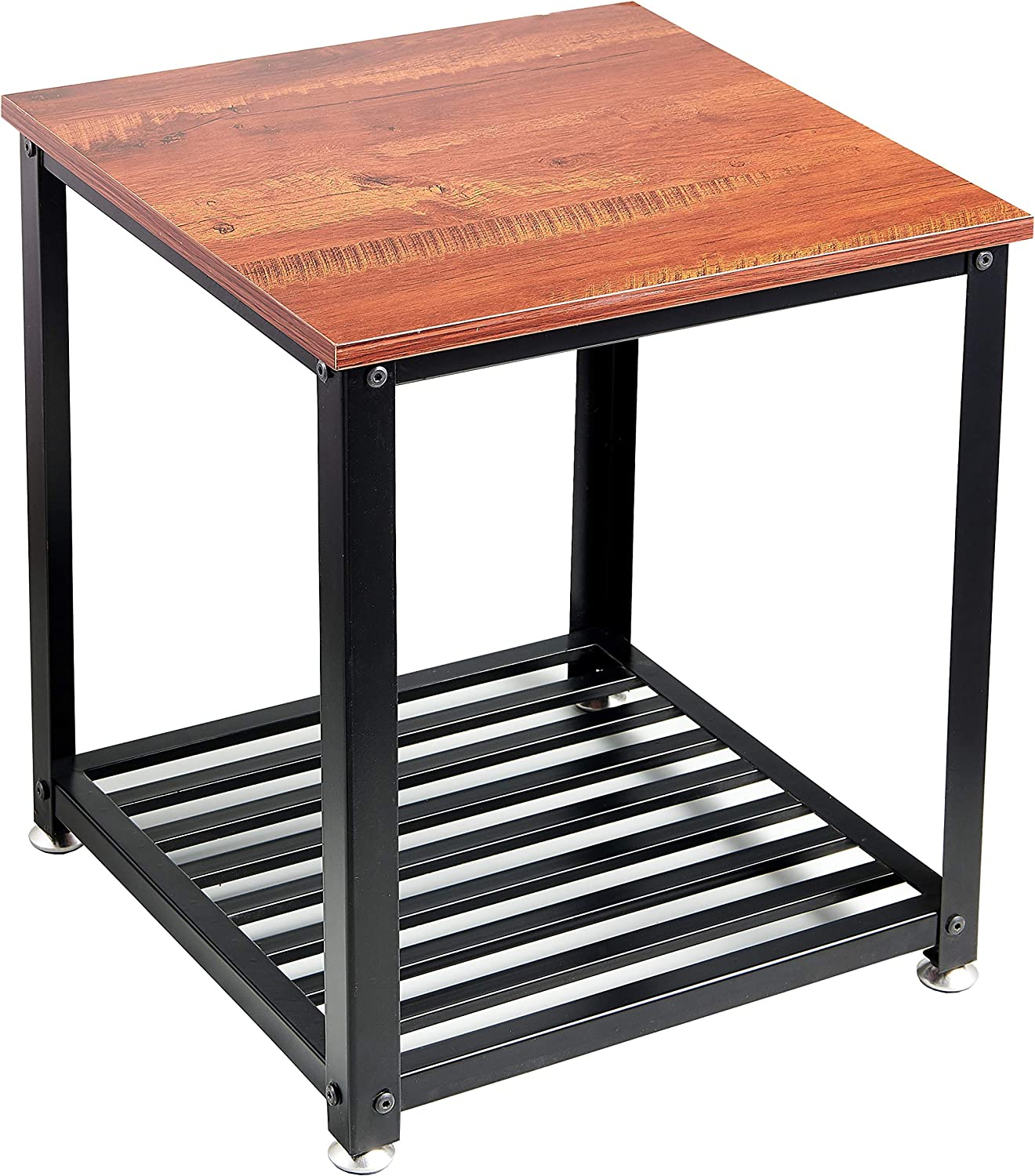 Loglus End Table/Side Table with Metal Shelf for Living Room, Office, Easy Assembly (ET001)