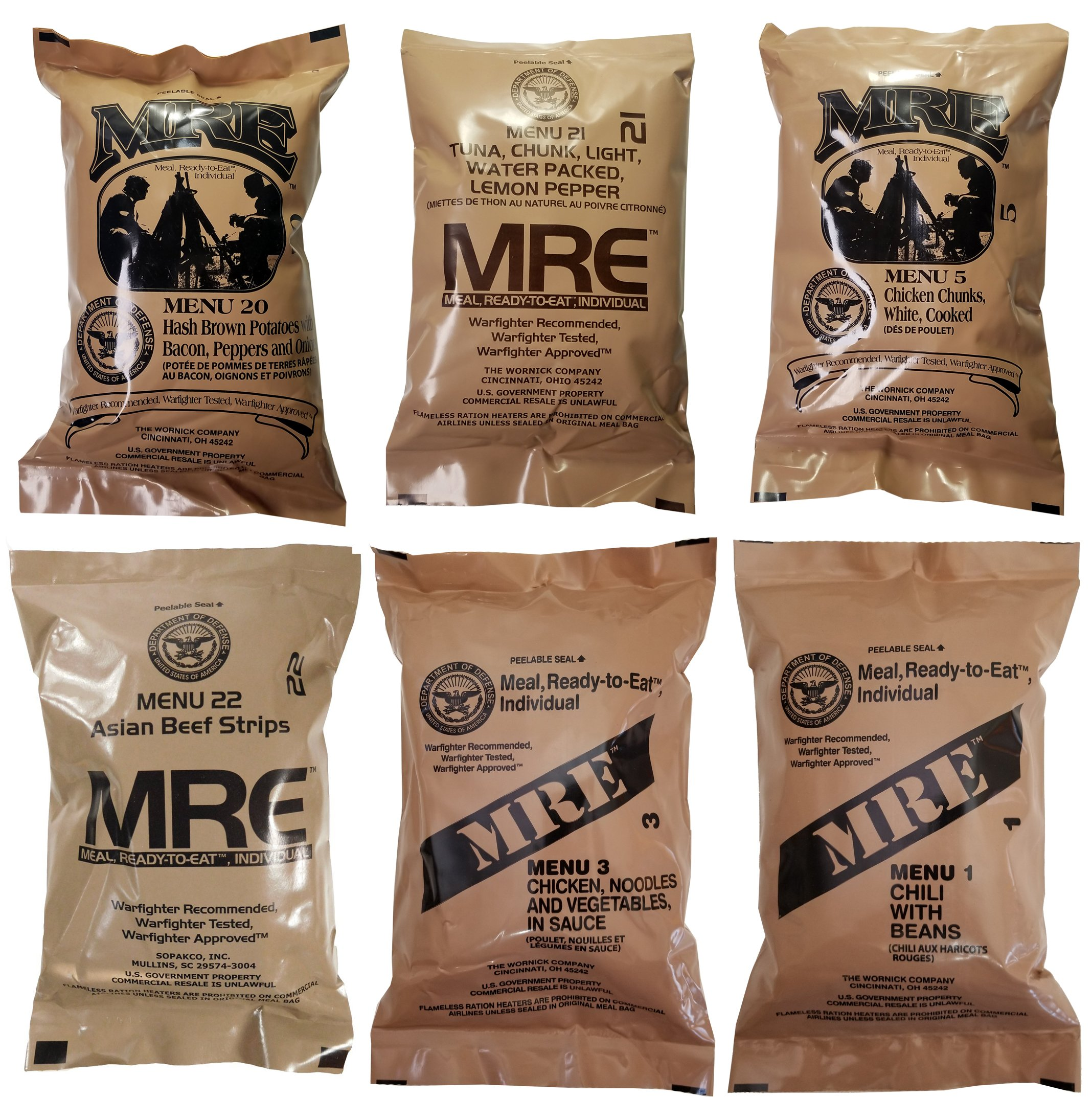 ULTIMATE MRE, Pack Date Printed on Every Meal - Meal-Ready-To-Eat. Inspected Certified by Western Frontier. Genuine Mil Surplus. (6-Pack) by Western Frontier
