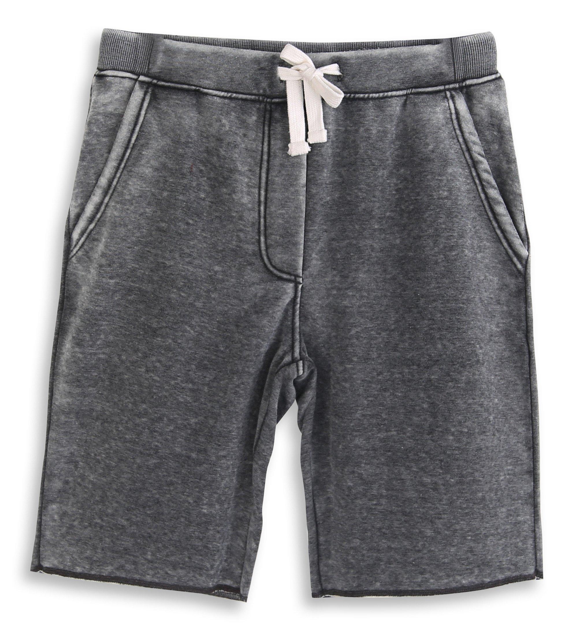 HARBETH Men's Casual Soft Cotton Elastic Fleece Jogger Gym Active Pocket Shorts Burnout Gray XL by HARBETH
