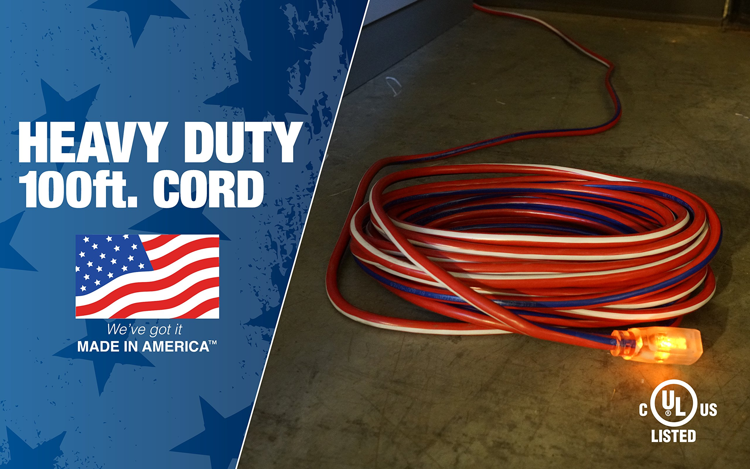Southwire 2549SWUSA1 100-Feet Contractor Grade 12/3 with Lighted End American Made Extension Cord by Southwire (Image #2)