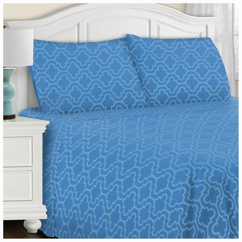 Superior ベッドシーツセット クイーン ブルー FLAQNSH TRLB B01N5WFD78 クイーン|Light Blue Trellis Light Blue Trellis クイーン