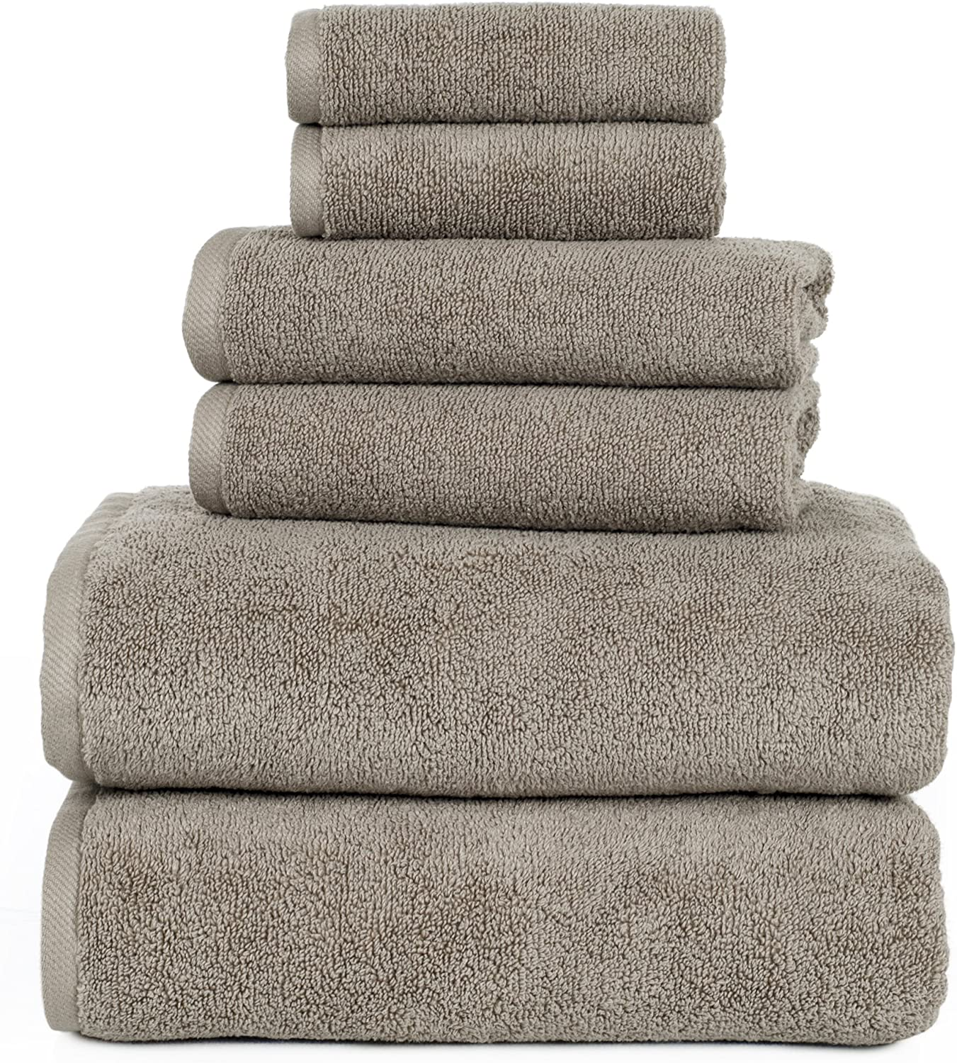 100 Percent Cotton Towel Set, Zero Twist, Soft and Absorbent 6 Piece Set With 2 Bath Towels, 2 Hand Towels and 2 Washcloths (Taupe) By Lavish Home