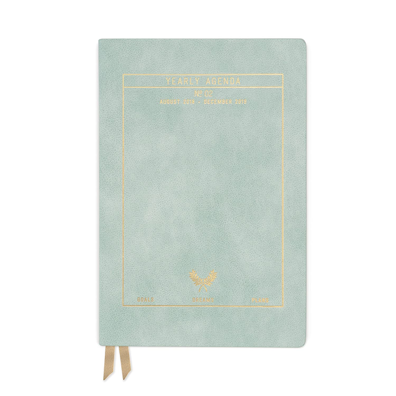 DesignWorks Ink Soft Cover Vegan Leather 17-Month Medium Agenda Book, Blush- Plans and Goals