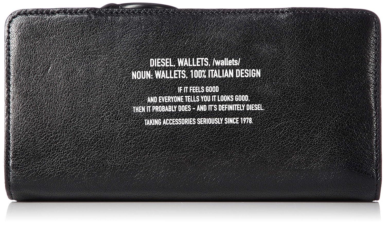 (ディーゼル) DIESEL メンズ テキストデザイン レザー 長財布 X06293PS142 B07KQYMPLR ブラック UNI