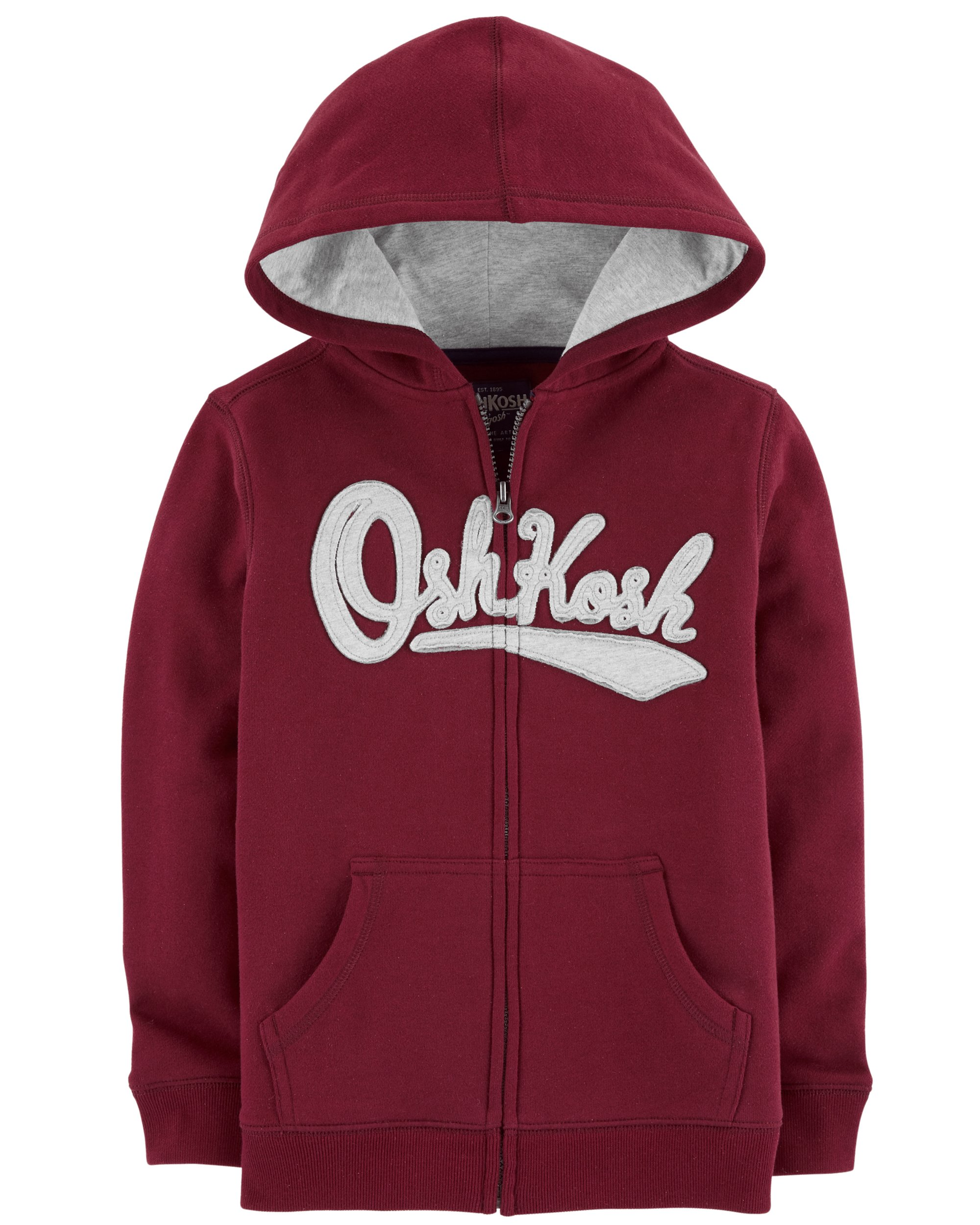 OshKosh B'Gosh Boys' Kids Full Zip Logo Hoodie, Burgundy, 6