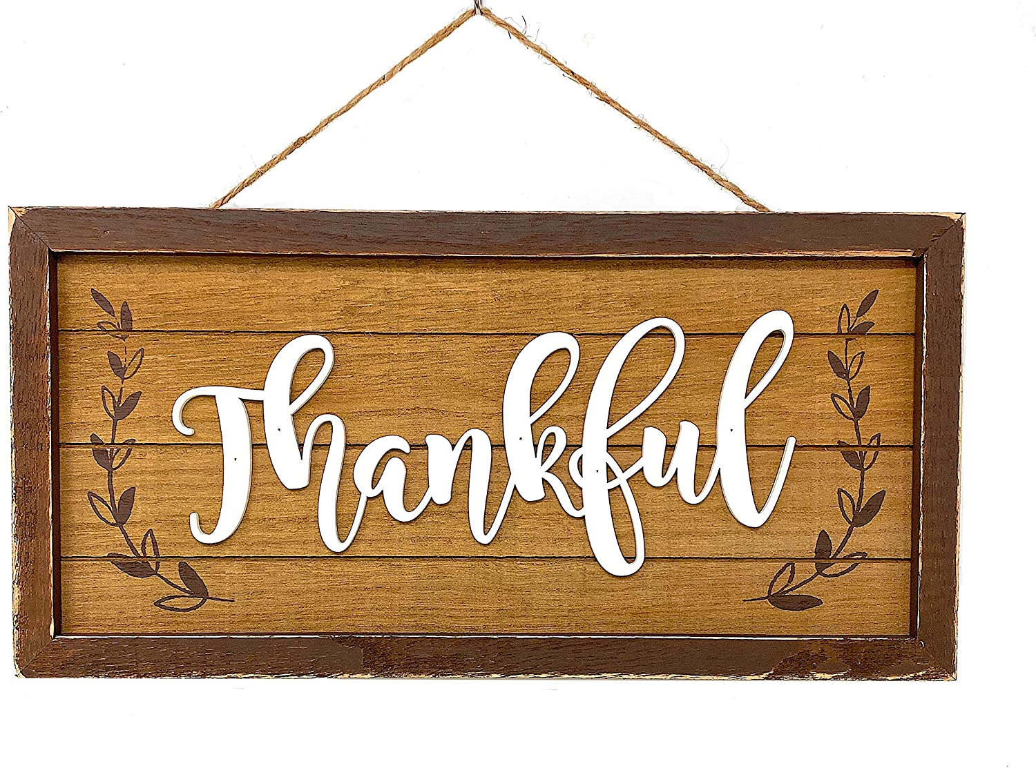 "This is an image of a wooden door signage with the word ""Thankful"" written in calligraphy style."