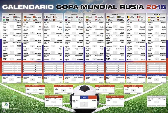 Close Up Póster XL | Calendario de la Copa Mundial de Fútbol 2018 en Rusia | con Todos los Grupos y Juegos | 68,5 x 101,5 cm: Amazon.es: Hogar