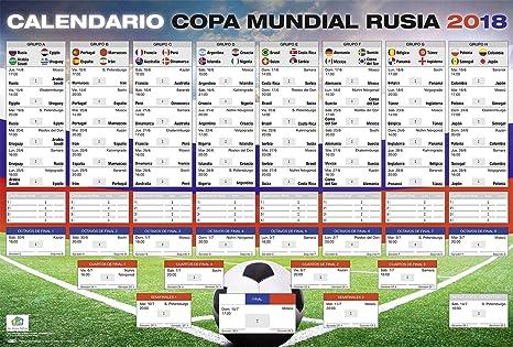 Calendario Mundial Futbol.Poster Xl Calendario De La Copa Mundial De Futbol 2018 En Rusia Con Todos Los Grupos Y Juegos 68 5 X 101 5 Cm