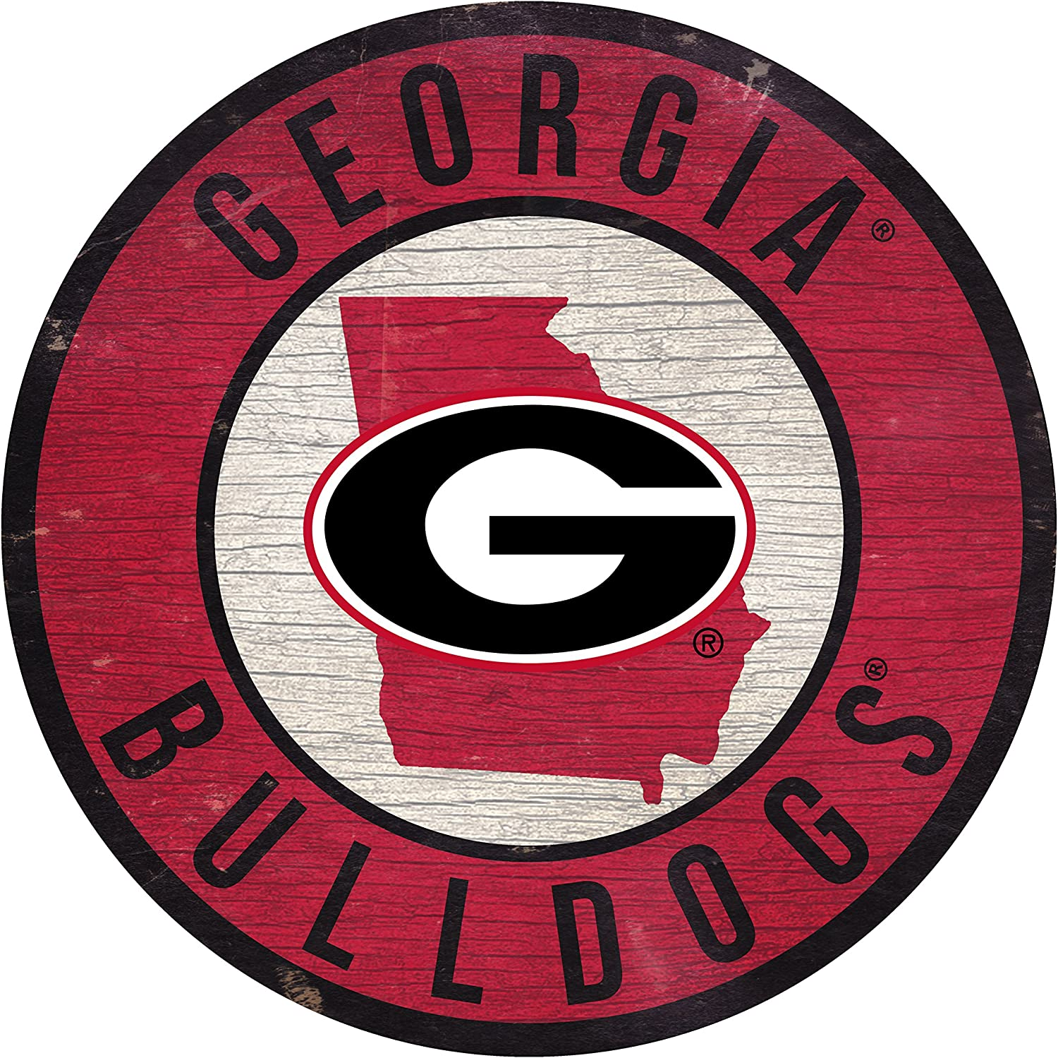 """Fan Creations NCAA Georgia Bulldogs 12"""" Circle with State and Team Logo Wood Sign"""
