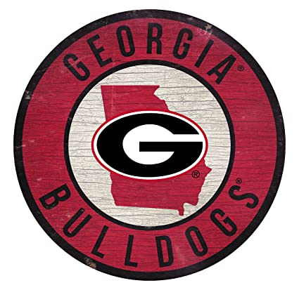 Fan Creations Georgia Bulldogs Sign Wood 12 Inch Round State Design