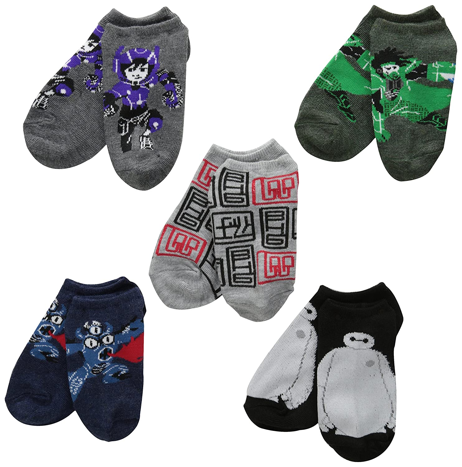 Disney Little Boys' 5 Pack Big Hero 6 No-Show Socks Assorted One Size/6-8.5 41440020H60