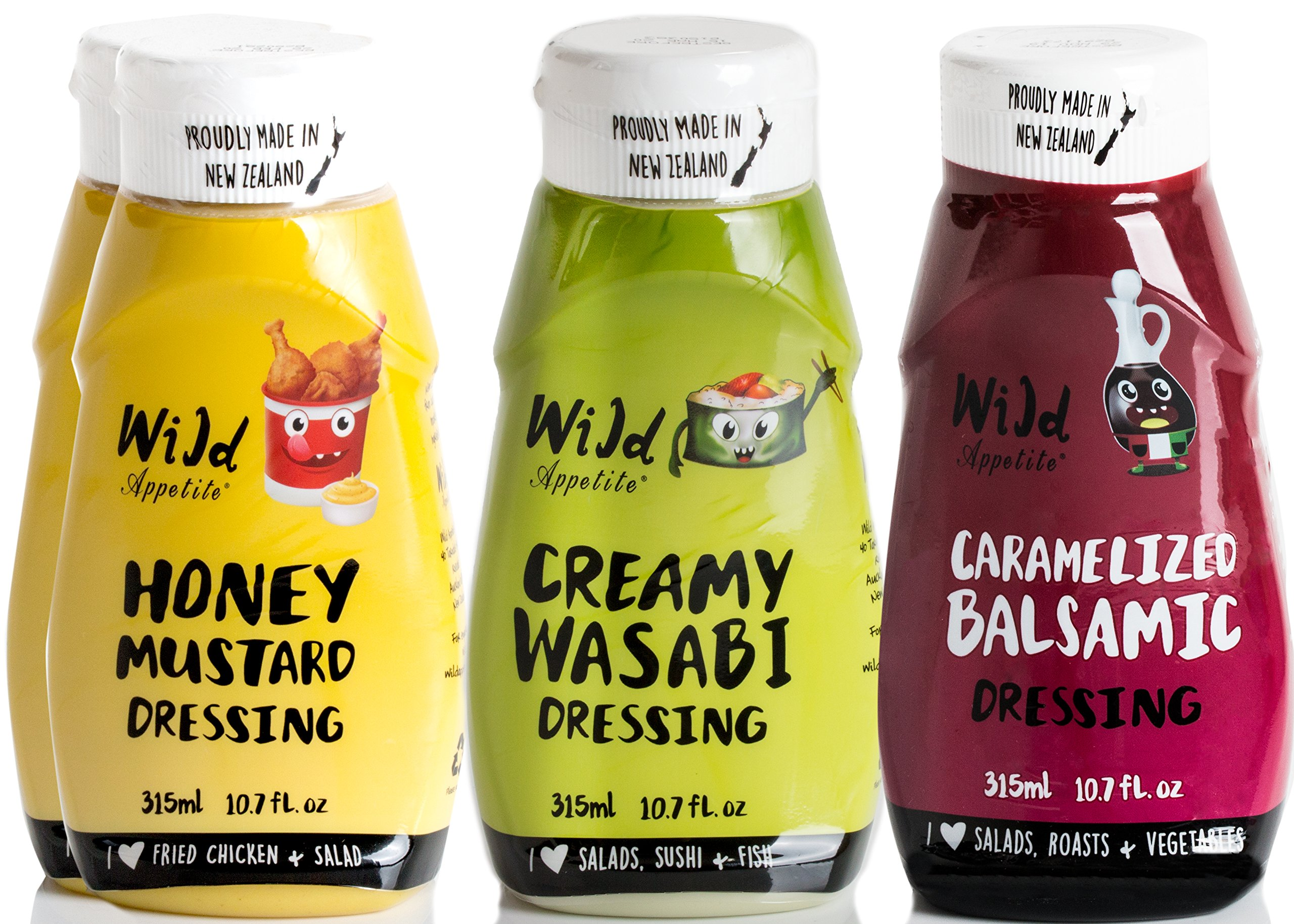 Wild Appetite Dressings 4 Pack, 2 x Honey Mustard and 1 x Wasabi Dressing and 1 x Caramelised Balsamic Dressing, 4 x 10.6oz