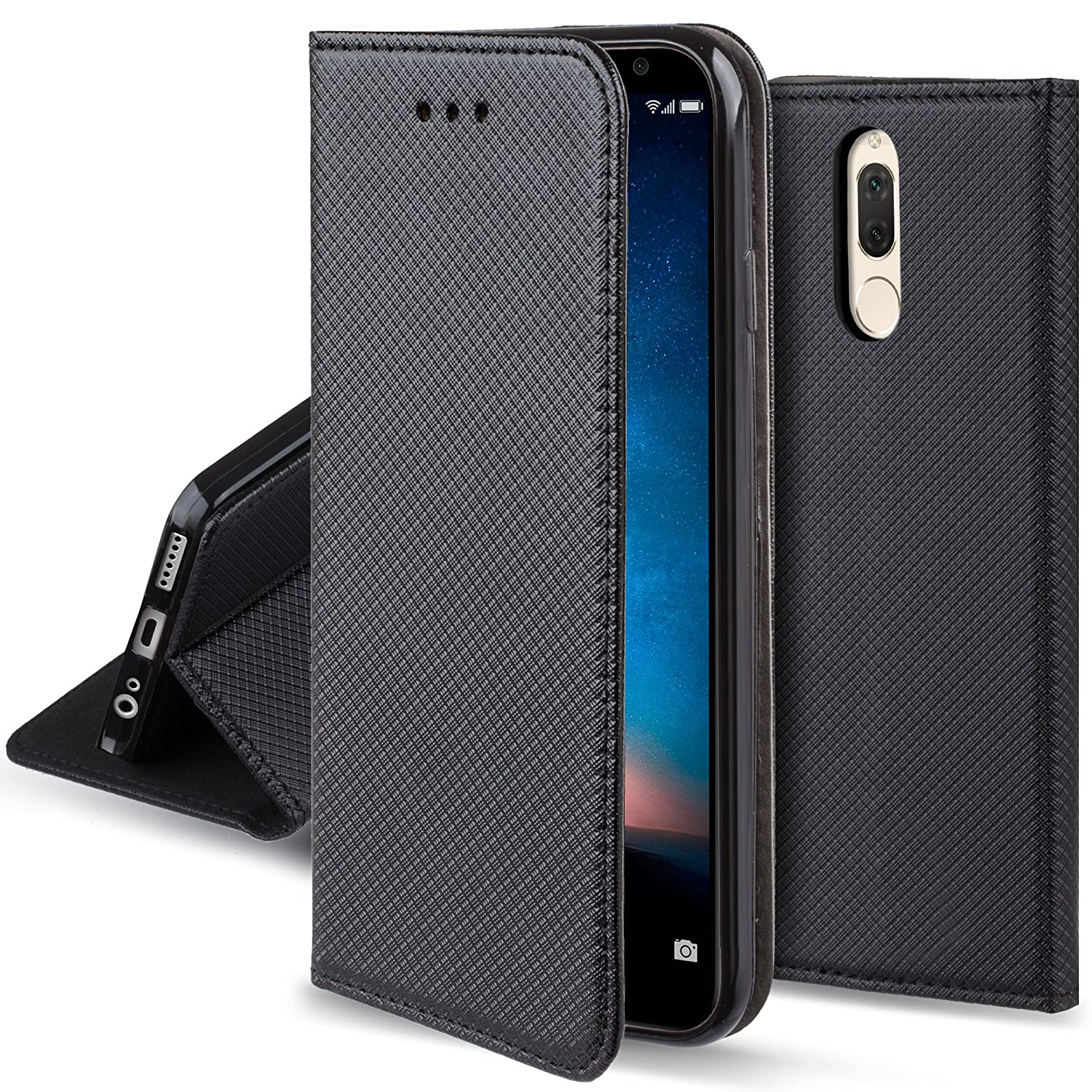 official photos 26e0c adced Moozy case Flip cover for Huawei Mate 10 Lite, Black - Smart Magnetic Flip  case with folding stand