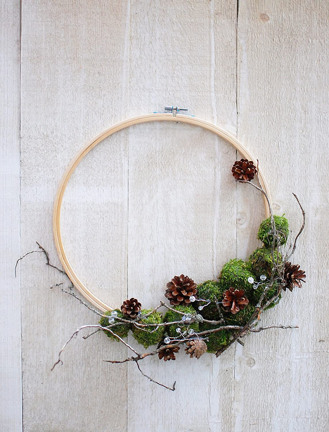 Christmas Embroidery Hoop Wreath.Natural Christmas Hoop Wreath Moss Wreath Embroidery