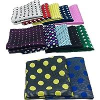 ekSel 12 Pack Polka Dot Pocket Squares Set for Men suits Handkerchief Assorted Colors