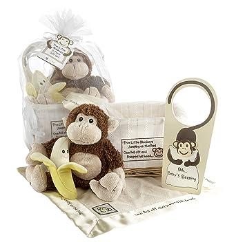 Baby aspen gift set with keepsake basket five little monkeys brown