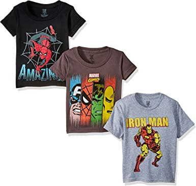 Amazon Com Marvel Boys Toddler Boys Super Heroes 3 Pack T Shirt Bundle Charcoal Black Heather Grey 2t Clothing