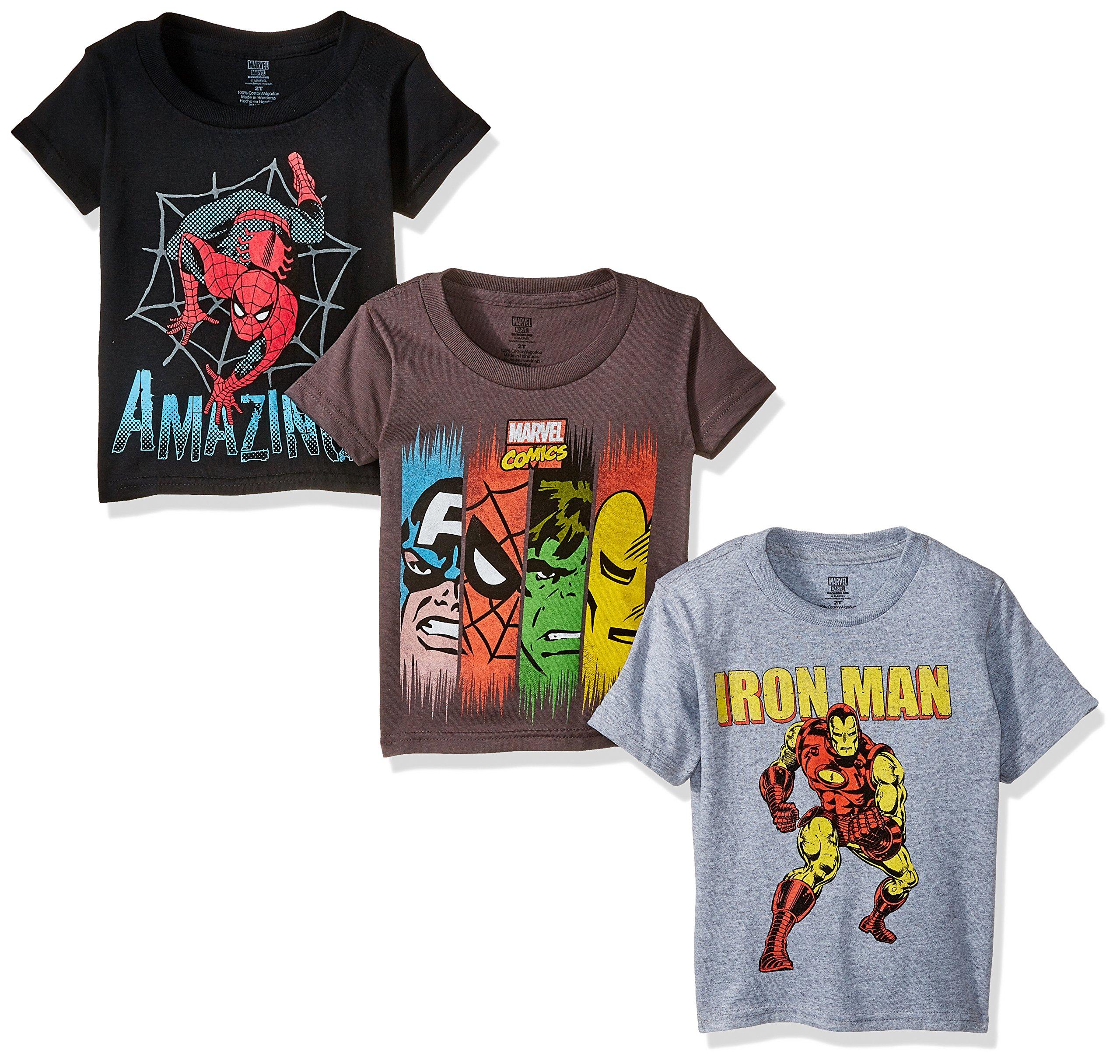 Marvel Boys' Toddler Boys' Super Heroes 3 Pack T-Shirt Bundle, Charcoal/Black/Heather Grey, 3T