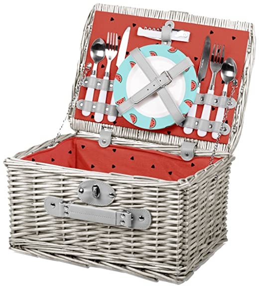 Picnic Time Catalina English Style Picnic Basket with Service for Two, Watermelon Collection