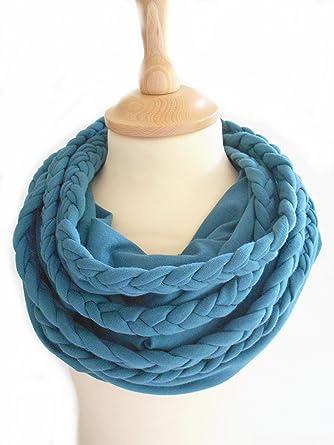 a208c8b95eb007 Anna York Designer Damen Schal Loopschal aus Biobaumwolle, Farbe: Jeansblau  (Jeansblau)