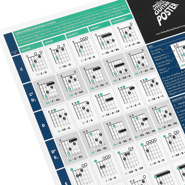 The Really Useful Guitar Poster - Aprende Guitarra, Teoría Musical y Composición con nuestra Tabla de Escalas, Acordes y Círculos de Quintas - Tamaño A1 - Versión Plegada