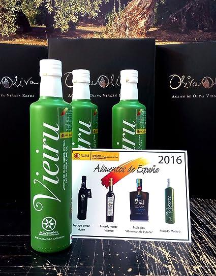 3 botellas x 500 ml - Vieiru, As Pontis variedad manzanilla cacereña - Aceite de