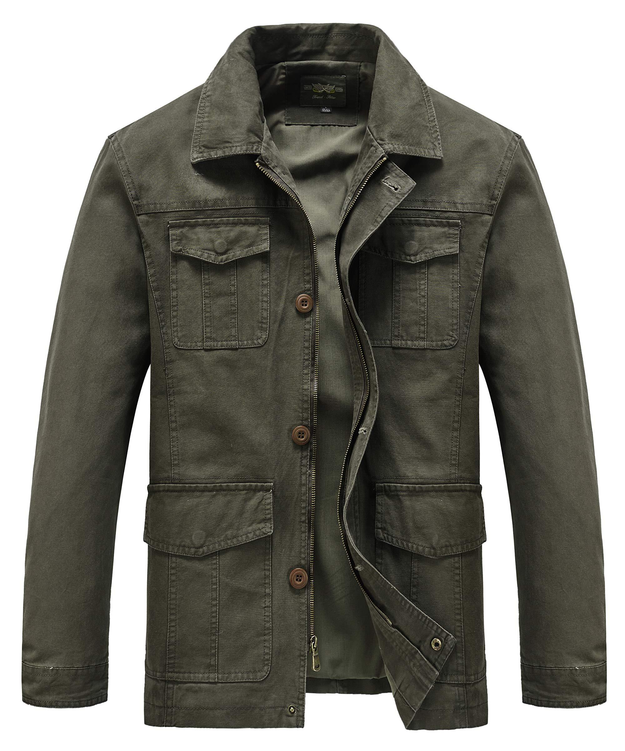 Heihuohua Men's Casual Flat Collar Cotton Jacket Military Lightweight Windbreaker, Army Green, US Medium/Tag Size XL by Heihuohua