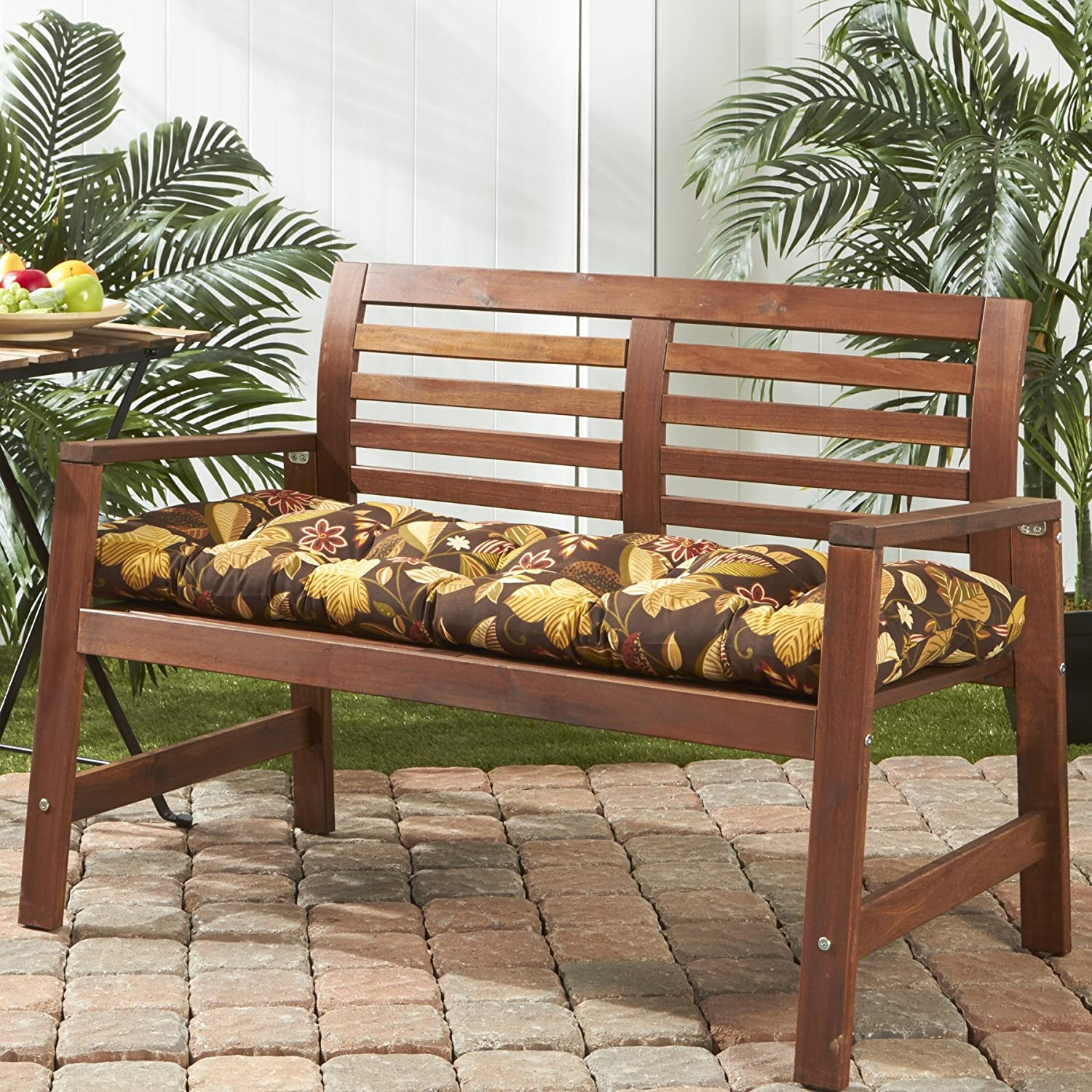 Greendale Home Fashions Indoor Outdoor Bench Cushion, Timberland Floral, 51-Inch