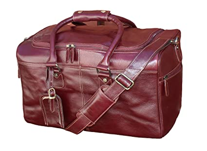 ad1c051cd2 Image Unavailable. Image not available for. Colour  StarHide Brown Duffle  Real Leather Holdall Overnight Bag ...