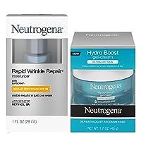 Neutrogena Rapid Wrinkle Anti-Wrinkle Retinol Face Moisturizer SPF 30, 1 oz + Hydro Boost Water Gel Facial Moisturizer for Extra Dry, Hyaluronic Acid, 1.7oz