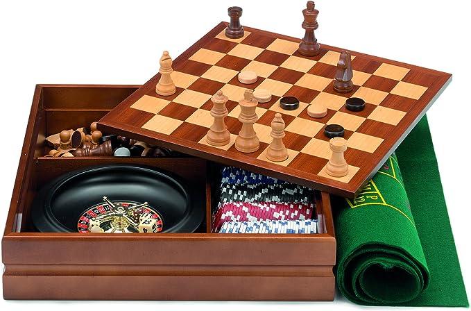 Cayro - Caja multijuegos con Ruleta marquetería (1446): Amazon.es: Juguetes y juegos