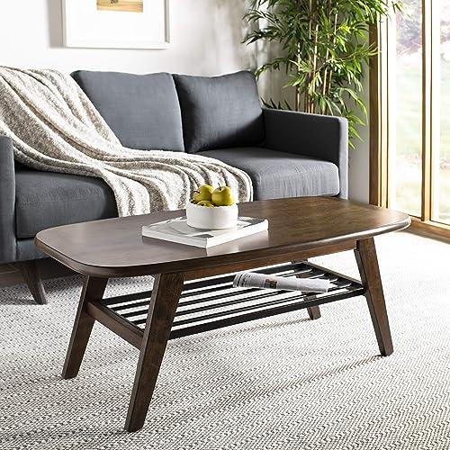 Safavieh Home Oren Mid-Century Modern Walnut and Black 2-tier Coffee Table