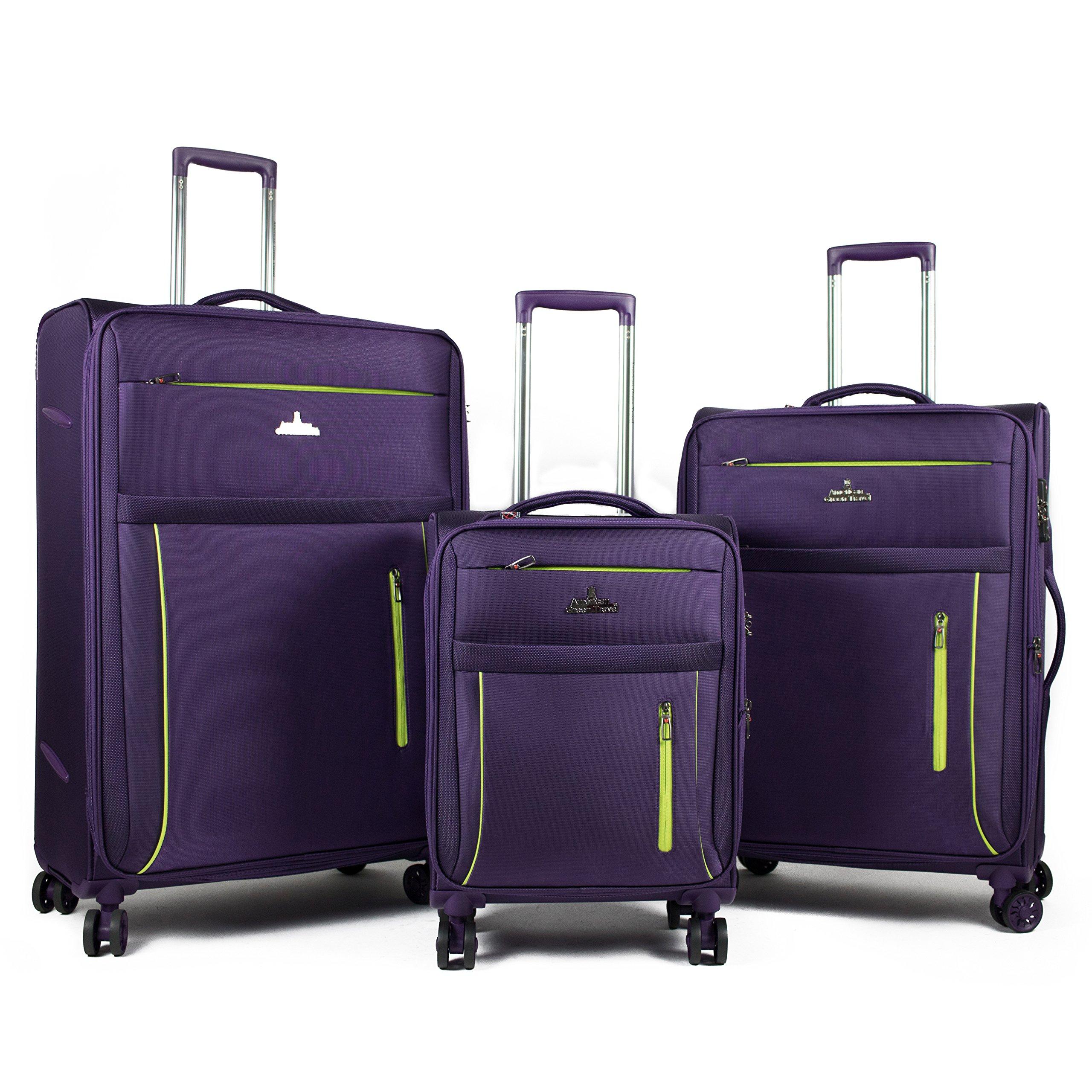 American Green Travel Soteria Anti-theft Lightweight 3-Piece Luggage Set (Purple)