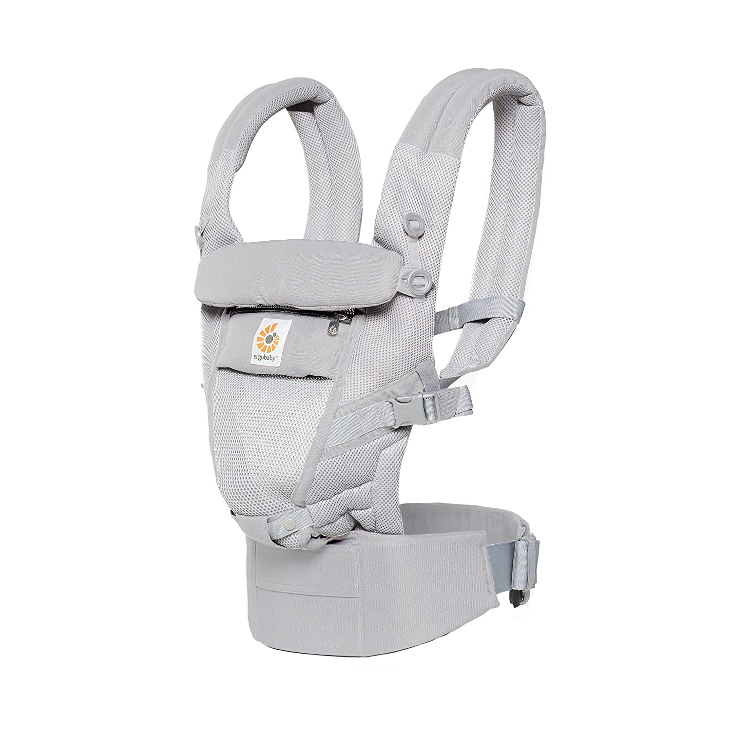 Ergobaby Adapt Cool Air Mesh Breathable Ergonomic Multi-Position Baby Carrier, Newborn To Toddler, Pearl Grey BCPEAPGREY