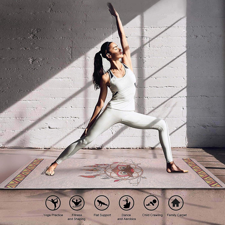 ZEROVIDA Tappetino Yoga,Tappeto Yoga Professionale,Yoga Mat Antiscivolo di Gomma Naturale con Lino Ecologico Spessore di 5mm 183cm*63cm Materassino Ecologico Yoga per Pilates Ashtanga con Borsa