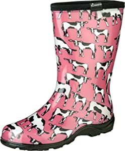 Sloggers Women's Waterproof Rain and Garden Boot with Comfort Insole, Cow-abella Bubble Gum, Size 6, Style 5017CWP06