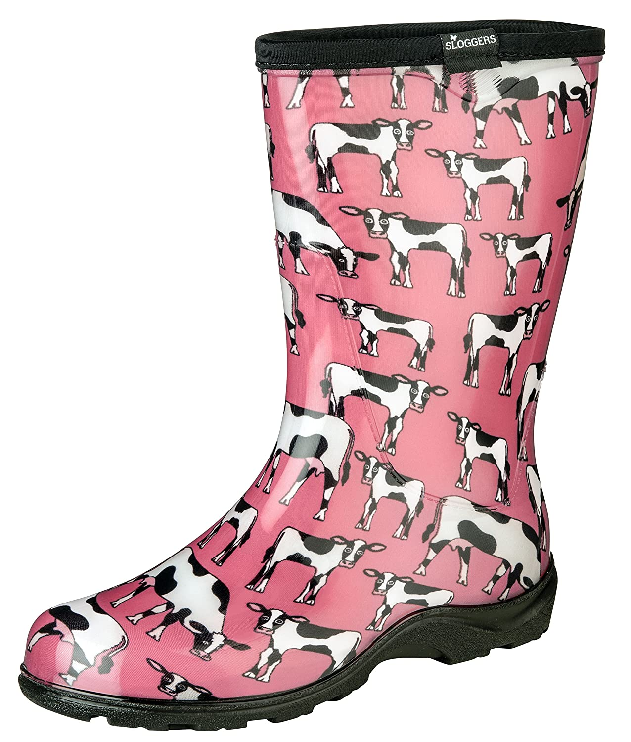 Sloggers Women's Waterproof Rain and Garden Boot with Comfort Insole, Cow-abella Bubble Gum, Size 10, Style 5017CWP10 B01HB0GGQI 10|Cow-abella Bubble Gum