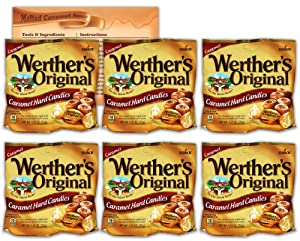 Werthers Original Hard Candy | 2.65 Ounce Bags - Pack of 6 | Bundled with Ballard Caramel Sauce Recipe Card