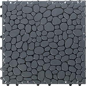 Gardenised QI003970.5 Interlocking Cobbled Stone Look Garden Pathway Tiles, Decorative Floor Grass Pavers Anti-Slip Mat, 5 Pack, Gray