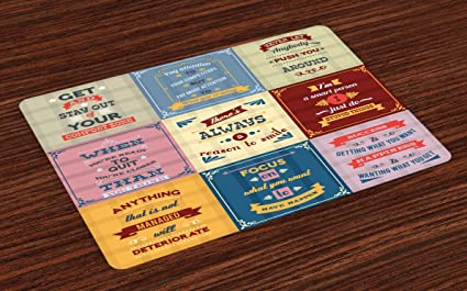Amazoncom Ambesonne Quote Place Mats Set Of 4 Collection Of