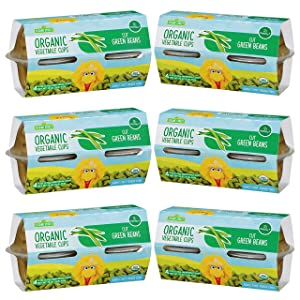 Sesame Street Organic Cut Green Beans | First Finger Food for Children 12+ Months | Ready-to-Enjoy! | Deliciously Mild Subtly Sweet, Tender-Crisp | Six 4-pack sleeves of 4.0 oz cups (24 cups total)