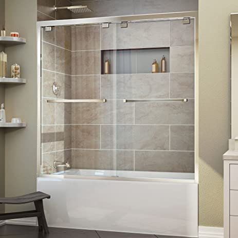 doors frameless encore dp sliding door width tub dreamline bypass in
