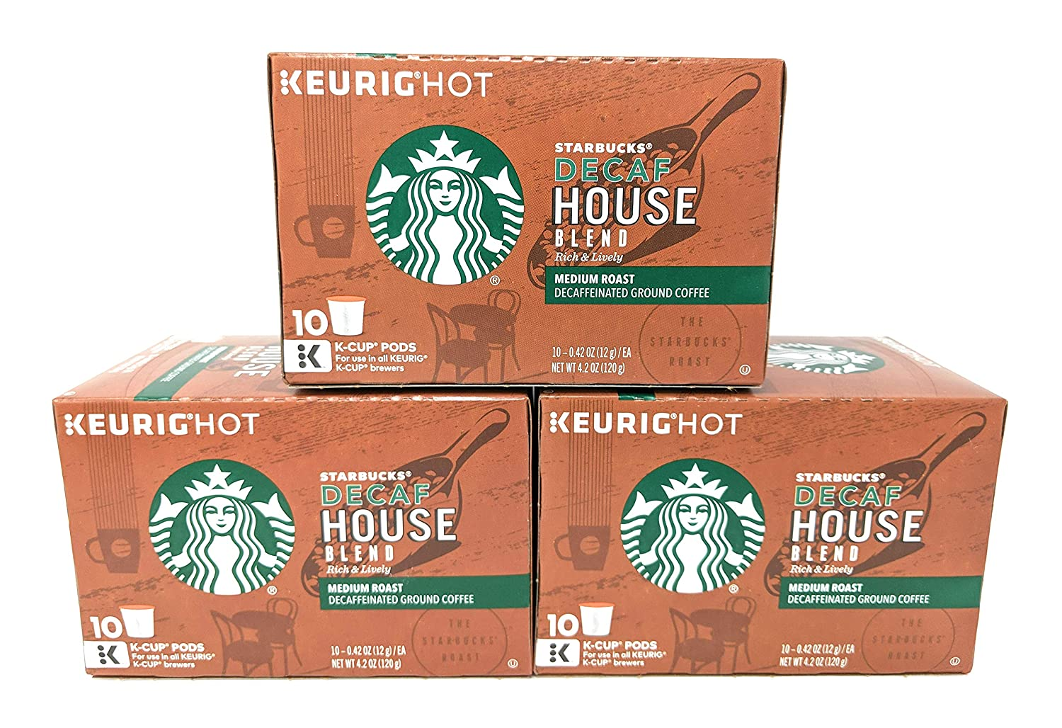 Starbucks Decaf House Blend Medium Single Serve K-Cup Coffee Pods, 4.2 Ounce (Pack of 3)
