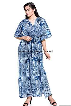 8f768ead76 Image Unavailable. Image not available for. Color: Indian Long Kaftan Dress  Hippy Boho Maxi ...