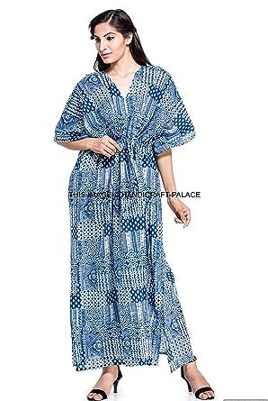 4a25073c9d Image Unavailable. Image not available for. Color: Indian Long Kaftan Dress  Hippy Boho Maxi, Plus Size Women Caftan Indigo Blue