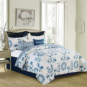 C&F Home Casablanca Bay 2 Piece White and Blue Coastal Pattern Twin Quilt Set Quilt and Sham Bedding Set 64