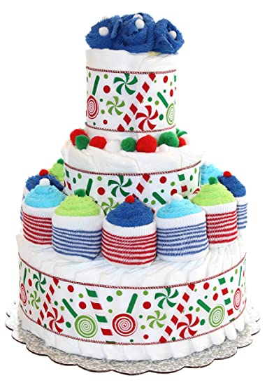 Candy Cane Lollipop Diaper Cake Decorated With Cupcakes Made Out Of Baby Socks And Washcloths