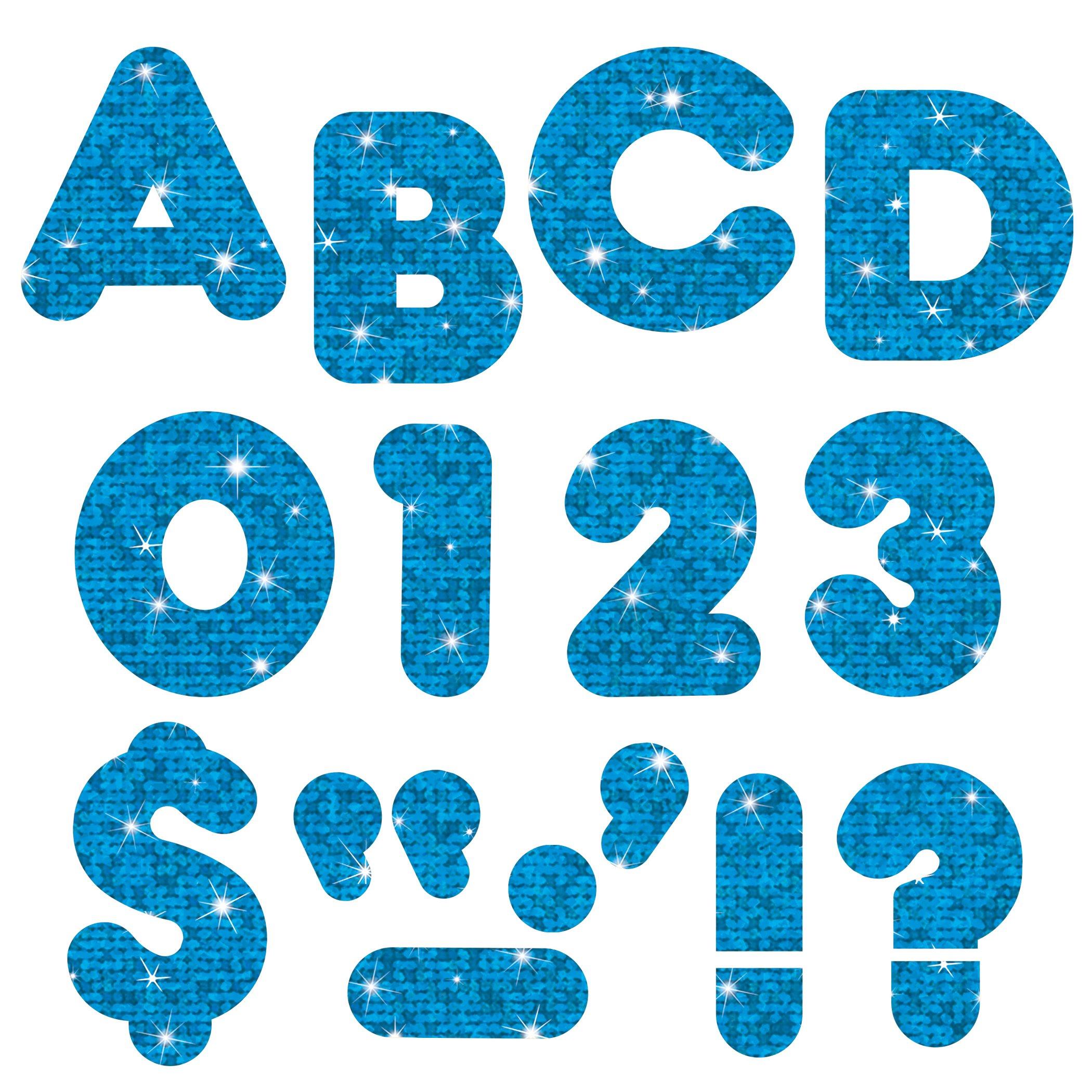 TREND enterprises, Inc. T-1617BN Blue Sparkle 4'' Casual UC Ready Letters, 6 Packs by TREND Enterprises