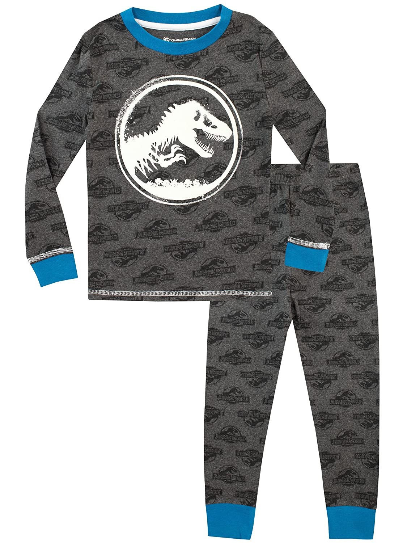 Hasbro Jurassic World - Pigiama a maniche lunga per ragazzi - Si Illuminano al Buio - Vestibilitta Stretta