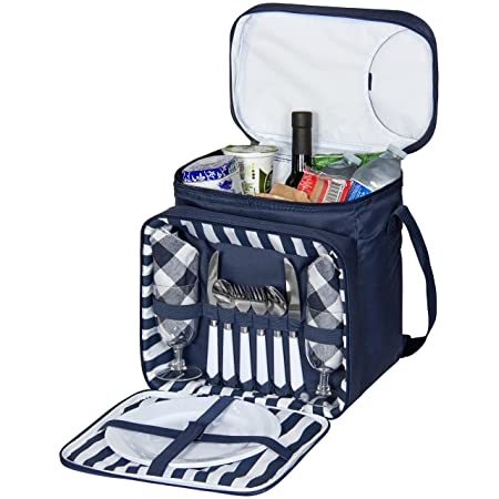 Best Choice Products 2-Person Insulated Picnic Bag Lunch Tote w Flatware, Plates, Silverware – Blue